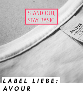 Visual statement des Labels Avour: Stand out. Stay basic.