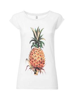 camiseta manga corta blanca piña comercio justo GOTS www.invertirenfamilia.com