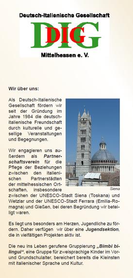 Flyer der Deutsch-Italienischen Gesellschaft Mittelhessen e. V.