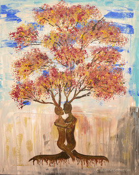 Acryl auf Leinwand, Liebesbaum, Intuitive Malerei, Kreativität