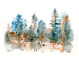 Wald, Aquarell, watercolour, intuitive Kunst