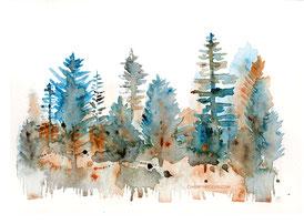 Wald, Aquarell, watercolour, intuitive Kunst