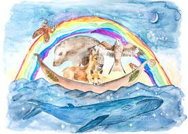 Krafttier, Aquarell, Regenbogen, Illustration, Wal