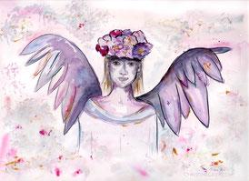 Engel, Aquarell, watercolour, Blütenkrone, Illustration