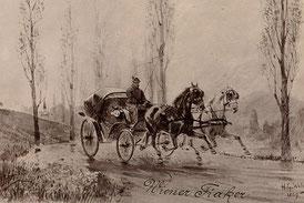 In Freuds Wien galt der Fiaker als das schnellste Mittel für Umfeldvertauschungen. Auch die Übertragung lässt sich als Umfeldvertauschung auffassen, sofern die Vergangenheit im Gegenwartsunbewussten wiederkehrt. Bild The Boston Public Library/flickr