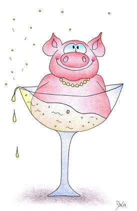 Geburtstagskarte Perlensau im Champagnerglas