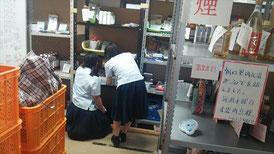 ボラ体験は、倉庫の食品陳列をお願いしました。