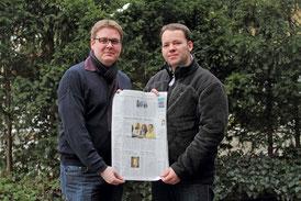 Achim Biesenbach (li.) und Jaro Lietzmann vom Stadtjugendring-Vorstand mit dem Bericht über die Jugendhilfeausschusssitzung