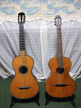 19世紀のギター(左)とテルツギター(右)