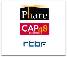 IMAGE REGROUPANT LES LOGOS DE PHARE, DE LA RTBF ET DE CAP 48