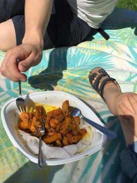 Ofengemüse zum Mittagessen To-Go im Grugapark