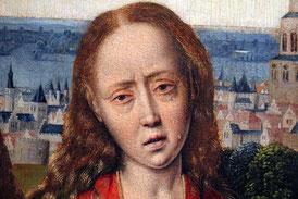 Mittelalterliche Malerei mit weinender Frau