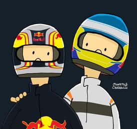 Carlos Sainz & Fernando Alonso by Muneta & Cerracín