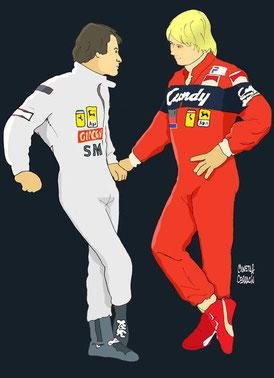Gilles Villeneuve & Didier Pironi by Muneta & Cerracín