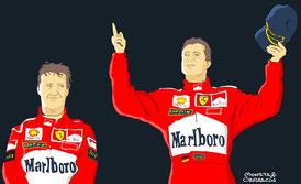 doblete de la Scuderia de la paraja formada por el piloto germano Michael Schumacher y el irlandés Eddie Irvine by Muneta & Cerracín