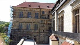 Prager Burg, Alter Königspalast, Ludwigsflügel mit dem Fenster des 2. Prager Fenstersturzes links in der Mitte