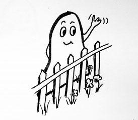 Glockenmännchen winkt über den Zaun. Zeichnung von Claudia Pichler Mediation Salzburg