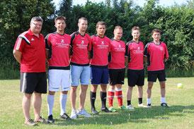 von links nach rechts: Spielleiter Matthias Gößwein, Coach Tobias Dachwald, Georg Neudecker, Johannes Leicht, Sebastian Mathes, Martin Schmaus und Co-Trainer Ralph Turnwald