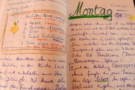Seite aus dem Reisetagebuch von 1990