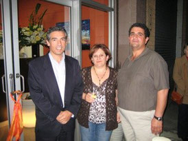 Mayor Angelo Tsirekas at the opening with Rofaline and Michael Saroufim