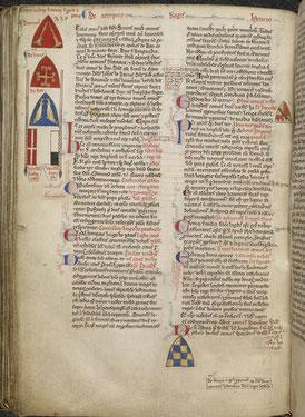 Matthieu Paris : Historia Anglorum, Chronica majora, Part III ; Continuation of Chronica maiora. 1250-1259. Détail Royal 14 C VII  f. 130v. Temple de Paris