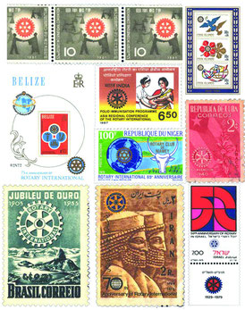 75年以上にわたり、世界各国で記念切手によって称えられてきました。  記念切手には、各国のロータリーの記念日や、実施されたプロジェクト  や人道的活動を称えて発行されたものもあります。