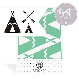 Sticker | Wandsticker - Indianer | Tipi - Set