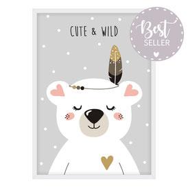 Poster | Eisbär - Cute & Wild - grau