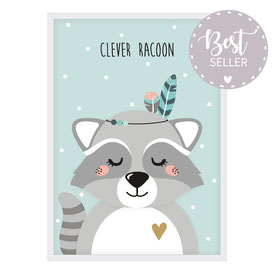 Poster | Waschbär - Clever Racoon - mint