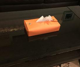 かわいい おしゃれ テッシュボックス カバー オレンジ