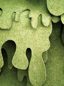 L'inconnu du monde qui vient (détail) ~~ fibre de bois recyclé - vue de l'exposition à la Galerie La Confection Idéale