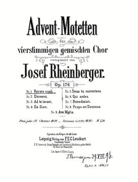ロイッカールト社から出た出版譜表紙。右の曲順となっている。