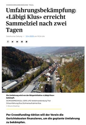 Solothurner Zeitung vom 23./24. April 2020