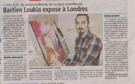 Article de presse et interview de Bastien Loukia sur l'exposition de ses œuvres à Londres (2012)