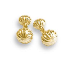 vergoldete goldene Manschettenknöpfe Kronenform verdrehte Krone Uhrenkrone