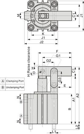 CALC Serie Zeichnung Pneumatischer Hebelspanner