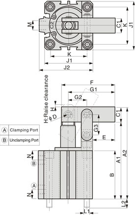 CALC Series Drawing Pneumatic leverage clamp