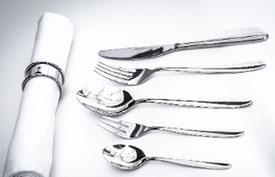 Foto: Edles Tafel-Besteck, Tischwäsche Mietbestecke, Porzellan und Gläser für Feiern und Events