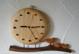 木の時計 壁掛け 小鳥