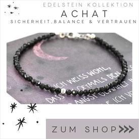 Edelsteine Achat Armband mit schwarzen Steinen & 925 Silber Verschluß