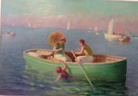 """Charles Videau/ Hermann Delpech ; """"Canotage sur la Bassin d'Arcachon"""""""