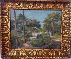 """Félix Carme, peinture sur toile, """"Les Abatilles"""" Bassin Arcachon"""