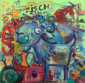 Ein buntes Bild mit Ziegenbock, Fisch, Hexe, Schnecke. Alles Gestalten, die in den Liedern von CATTU vorkommen.