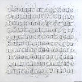 Christa Schmid-Ehrlinger o.T. III Draht in Leinwand 40 x 40cm 2015