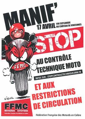 Dimanche 17 avril 2016 à Paris : manifestation FFMC contre le Contrôle Technique et les restrictions de circulation