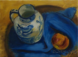0072-still life with jug & apple, 33/24 oil on canvas