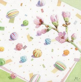 京飴と桃の花