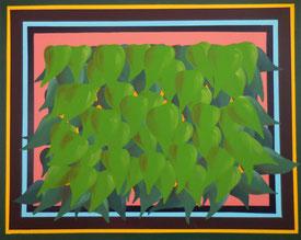 Cadre & feuillage, 2014, Acrylic on canvas, 80 x 100 cm