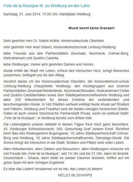 Nachrichten aus dem Rathaus 21 06 2014 Hans-Peter Schick, Schirmherr und Bürgermeister