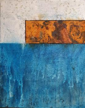 Arcyl Mischtechnik auf Leinwand  / 80x100 /Rost-Blau